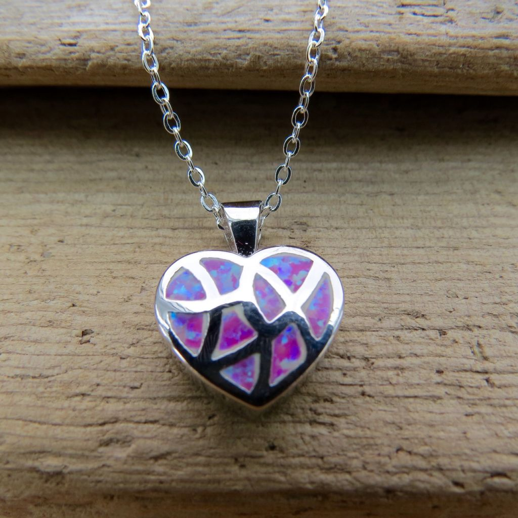 Sterling silver pink fire opal heart necklace sterling silver pink fire opal heart necklace aloadofball Gallery